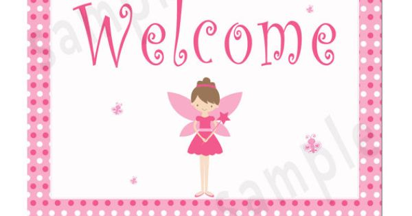 Fairy Welcome Sign Pink Polka Dots Pixie Girl Birthday