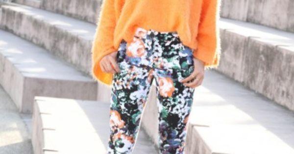 Floral pattern pants