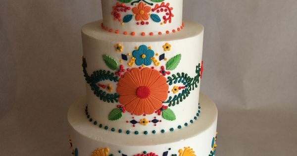 Wedding cake mexican inspired embroidery colorful
