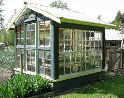 Old Window Greenhouse -- cool idea!
