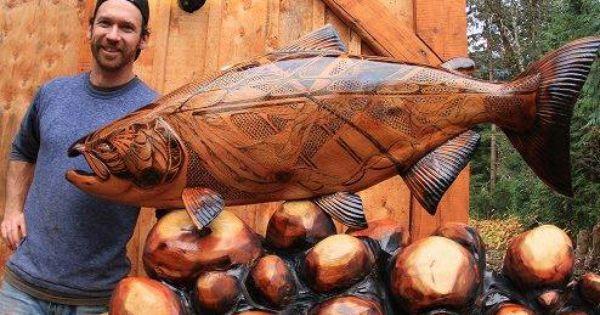 Salmon artist jordan anderson wood carver carving