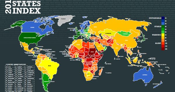 2017 Fragile States Index map.