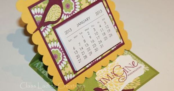 Calendar Square Ideas : Calendar easel made with scallop square die stampin up