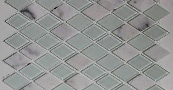 Quotdiamond cutquot mosaic carrera marble tile blue glass back for Diamond cut floors