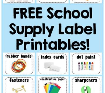 School Supply Labels Free Printables (1+1+1=1) Free