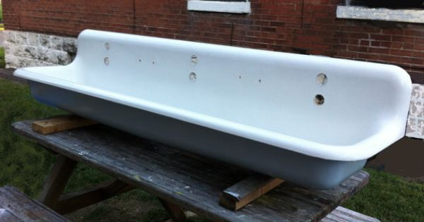 Antique Cast Iron Industrial Trough Sink 6 Foot Long Three Faucet