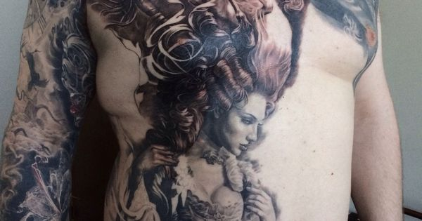Wild horses tattoo in progress on a client from england for Wild horse tattoo