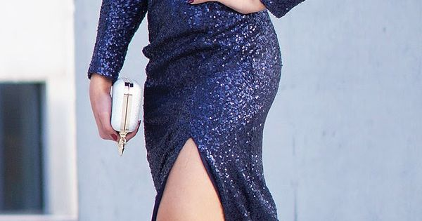 gorgeous navy blue sequins sleeve stylish maxi dress with