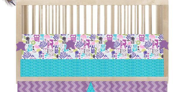 Custom Crib Bedding Quot Hoot Owl Quot Aqua Purple Pink Owl