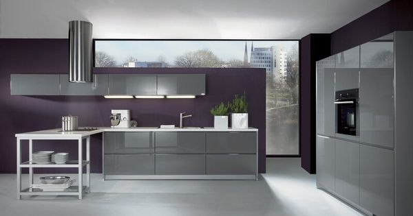 Sleek modern kitchen i 39 m loving the eggplant colored wall for Sleek modern kitchen cabinets