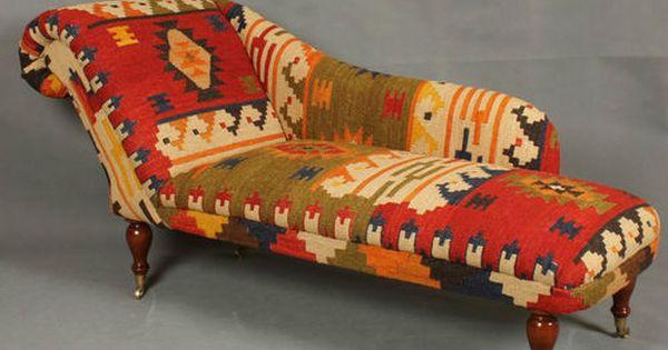 Handwoven Wool Kilim Chaise Longue Armchair Sofa Chair Patchwork Furniture Beautiful Furniture Patchwork Chair