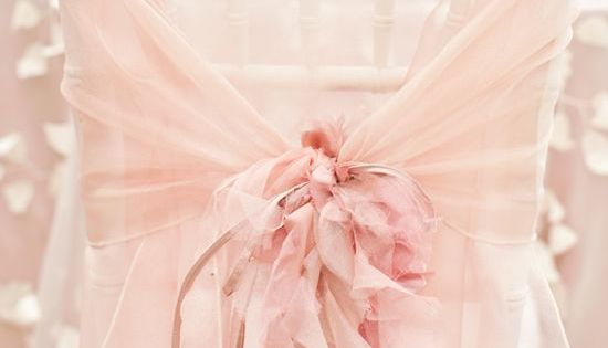 ♥ Chiffon chair cover in soft pink with ruffles. I love the