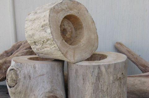 3 porte bougies bois flott bougie chauffe plat mesurant for Porte bougie bois flotte
