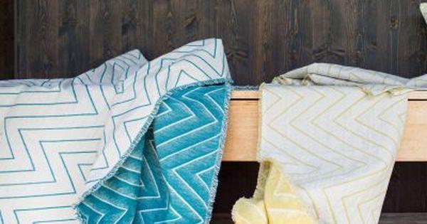 Leinenplaid Lino Zickzack Petrol 135x200 Baumwolldecken Decke Plaid Decke