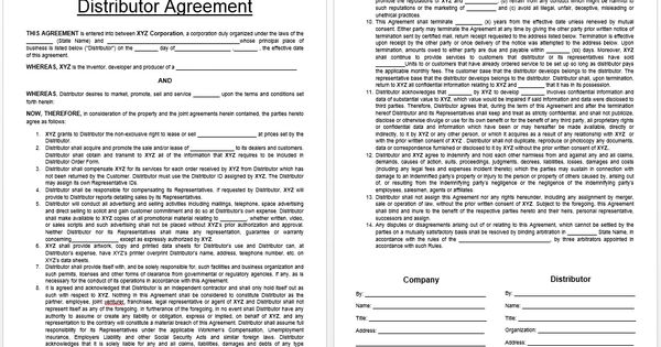 Distributor Agreement Template business templates Pinterest