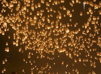 #oneday attend the loy kratong floating lantern festival in chiang mai, thailand