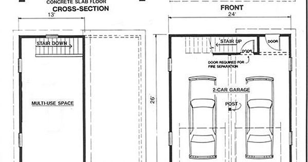 2 car craftsman style garage plan with loft 624 1 24 39 x for Free garage plans and material list