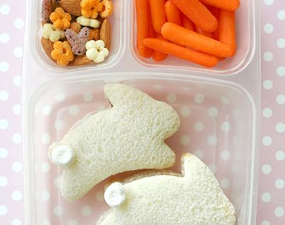 Kid's Easter Lunch or Snack With Bunny Sandwiches
