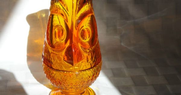 50 Vtg Mid Century Viking Glass Orange Owl Bird Fairy Lamp Candle Holder Light Rare Ebay