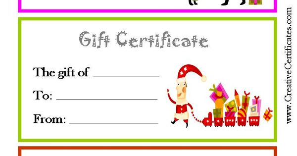 3 printable christmas gift certificate templates on one page each in a different color. Black Bedroom Furniture Sets. Home Design Ideas