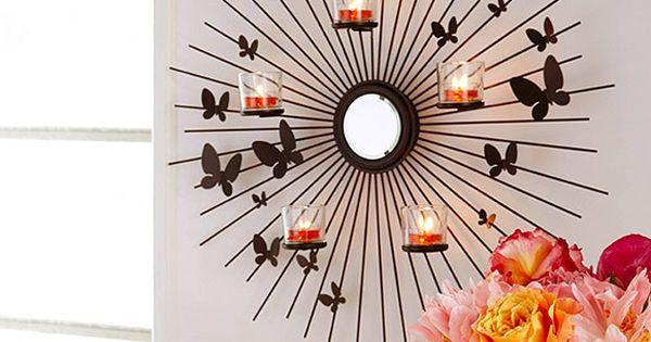 P92075 applique murale envol e de papillons annick for Trio miroir partylite