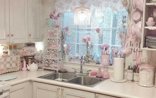 Cocina elegante lamentable blanco y rosa decoraci n del hogar pinterest shabby kitchens - Badkamer retro chic ...