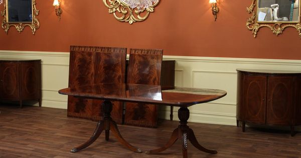 federal style double pedestal dining room table with leaves seats