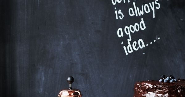 coffee is always a good idea quote on a black chalkboard. Black Bedroom Furniture Sets. Home Design Ideas