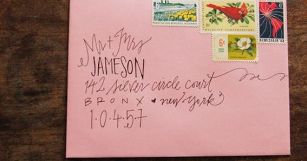 Addressing letters. Pretty way to send snail mail. I would do this