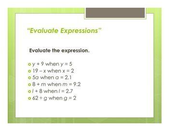 Math Warm Ups Algebra Free Math Lessons Evaluating Expressions Algebra