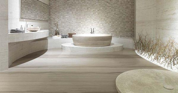 Carrelage de salle de bain de sol en travertin poli for Carrelage exterieur porcelanosa