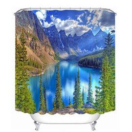 Blue Lake And Mountains In The Sunny Day 3d Printed Bathroom Waterproof Shower Curtain Shower Curtain Cool Shower Curtains Bathroom Shower Curtains
