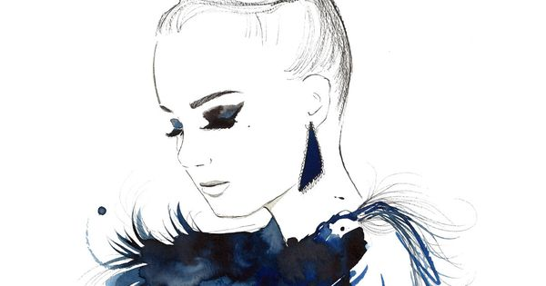 Print from original watercolor, pen and china marker fashion illustration by Jessica