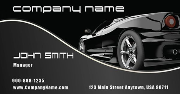 Simple Black Car Model Business Card Business Card Design Automotive Logo Design Black Corvette
