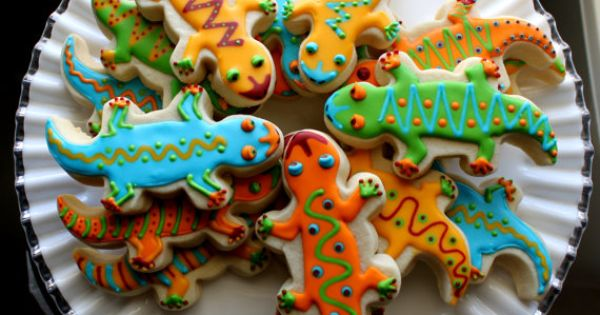 Brightly Colored Gecko Lizard Sugar Cookie By