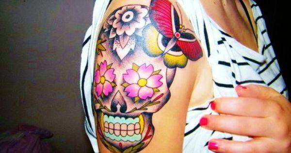 sugar skull. Tattoo. Ink