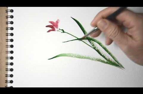 Aquarelle peindre une orchid e sauvage sumi e for Peindre facilement