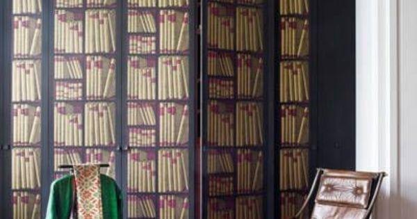 D corer un paravent avec le papier peint ex libris de cole and son pour un ef - Paravent trompe l oeil ...