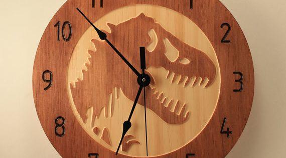 Pine T Rex Clock Dinosaur Clock Wood Clock Wall Clock