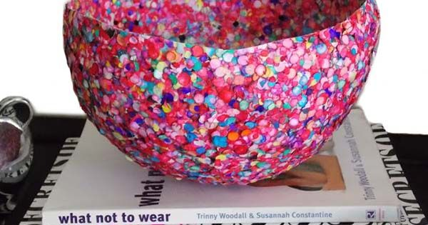 DIY Idea: Confetti Bowl - You need a balloon, mod podge, confetti,