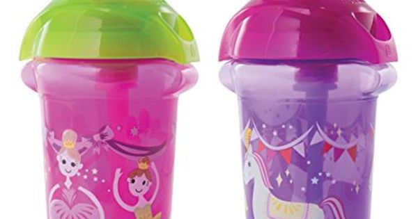 Munchkin Click Lock Flip Straw Cup Pink Purple 9 Ounce 2 Count Baby Bottles Baby Sippy Cup Cute Water Bottles
