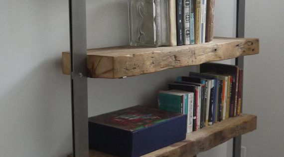 Hand Made Reclaimed Barn Wood and Metal Shelves. by Ticino Design. Would