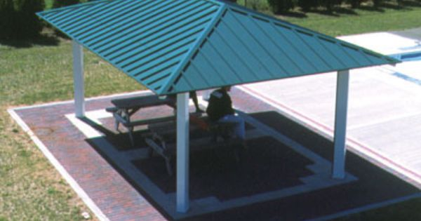 Poligon hip roof picnic shelters shade structures sun for Sun shade structure