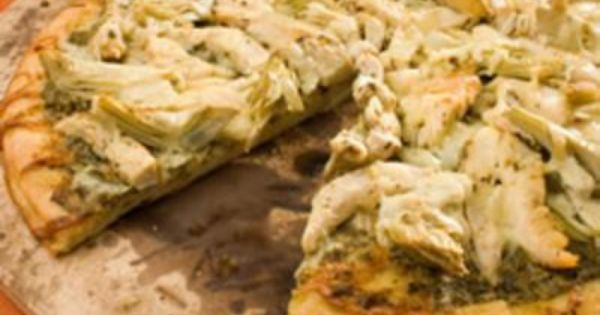 Chicken Pesto Pizza Recipe - So good. Skip the artichokes hearts.