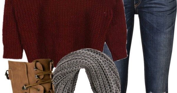 Comfy fall clothes / fall outfits / fall fashion / winter fashion / winter outfit / maroon oversized sweater / infinity scarf / brown leather combat boots