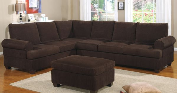 Reversible L Shape Couch in Deep Chocolate Corduroy Finish : Sectional sofa : Pinterest ...