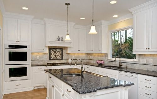 Blue pearl granite countertop white kitchen cabinets for White kitchen cabinets with blue pearl granite
