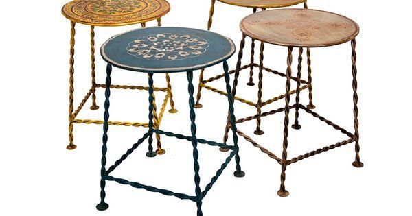 Mesita auxiliar redonda con patas de hierro mesita - Cristales para mesas redondas ...