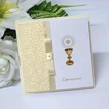 Znalezione Obrazy Dla Zapytania Zaproszenia Na Komunie Allegro Cards Handmade First Communion Cards Holy Communion Invitations