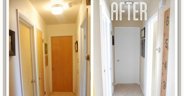 hallway transformation with painted trim and doors doors. Black Bedroom Furniture Sets. Home Design Ideas